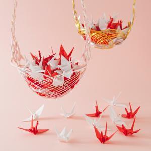 折り鶴シャワー7.5cm【紅白】100羽|senbanotsuru