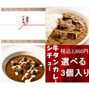 お歳暮ギフト 選べる 欲張りカレー&贅沢シチュー 3個入りセット|sendaisuminoya