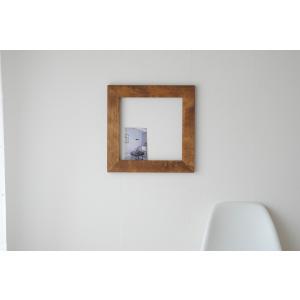 フレーム 額縁 40cm×40cm アンティーク 壁面 インテリア 木製 DIY  ブラウン ホワイト|sendaiworks