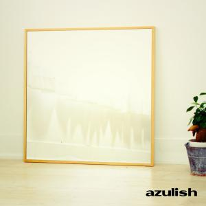 60cm×60cm  細枠  鏡 姿見 壁掛け 日本製 カフェ ウォールミラー  ナチュラル ウォッシュホワイト ダークブラウン ブラック|sendaiworks