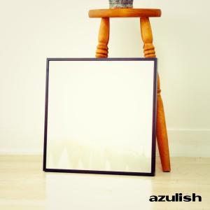 42cm×42cm  細枠  鏡 姿見 壁掛け 日本製 カフェ ウォールミラー  ナチュラル ウォッシュホワイト ダークブラウン ブラック|sendaiworks