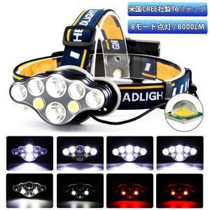 ヘッドライト 充電式 LED 充電池付 8000ルーメン 8モード 角度調節可
