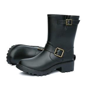メイン素材: 合皮 長靴に見えない、レディースのためのレインブーツ。防水、防寒仕様。  つなぎ目の無...