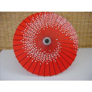 舞踊傘(紙傘) 尺四寸 一本柄 B 桜渦 赤地・白[品番号,3428] senjyu