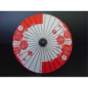 子供用舞踊傘(紙傘) B バラ(牡丹) 赤[品番号,3700] senjyu