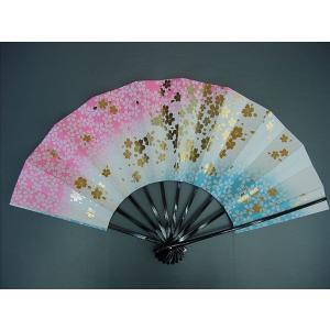 舞扇子 日本舞踊・踊り用 29cm 桜柄・金箔・ピンク・ブルー 日本製(京都) 箱なし