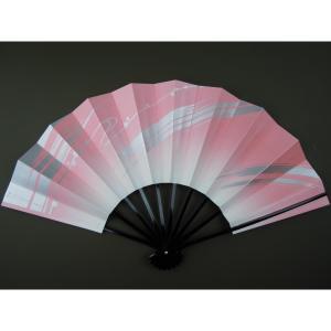 舞扇子 日本舞踊・踊り用 29cm ピンク・銀 キラ引き 黒塗 日本製(京都) 箱なし