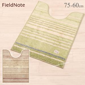 トイレマット ロング フィールドノート シャマル 約75×60cm ベージュ/グリーン (単品)|senkomat