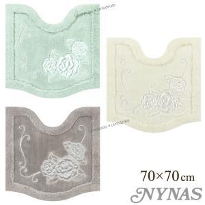 トイレマット ニーナス ロザーナ 約70×70cm (グリーン/グレー/ホワイト)|senkomat