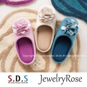 スリッパ SDS ジュエリーローズ アイボリー/ピンク/ブルー|senkomat