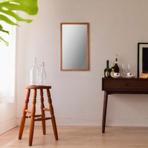 ジェミニ 41x70cm ホワイトアッシュ材 全2色 姿見 壁掛けミラー 長方形|sennoki