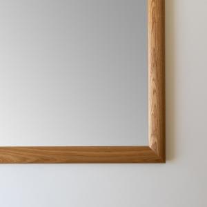 ソル 30x30cm ホワイトオーク材 壁掛けミラー 正方形 sennoki