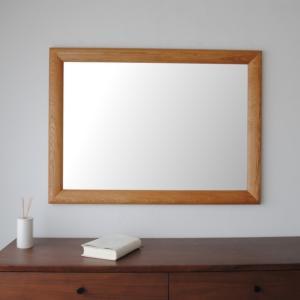 ソル 65x89cm ホワイトオーク材 壁掛けミラー 長方形 sennoki