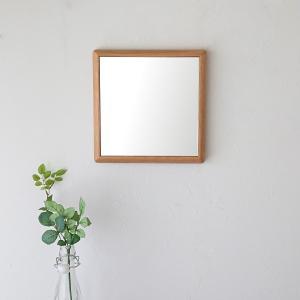 ステラ 27×27cm ホワイトオーク材  壁掛けミラー 卓上ミラー 正方形|sennoki
