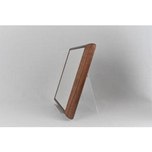 ステラ 27×27cm ウォールナット材  壁掛けミラー 卓上ミラー 正方形|sennoki