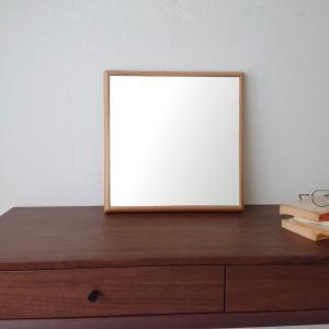 ステラ 44×44cm ホワイトオーク材  壁掛けミラー 正方形|sennoki