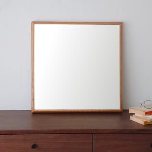 ステラ 54×54cm ホワイトオーク材  壁掛けミラー 正方形|sennoki