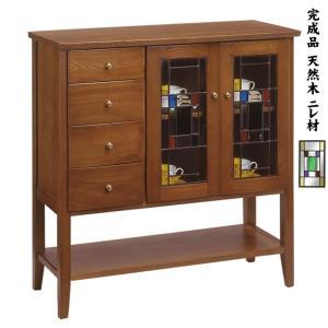 書斎や応接室、ルームバーのグラスボードにも、 重厚感のある天然木(ニレ材)4本脚キャビネットです。 ...