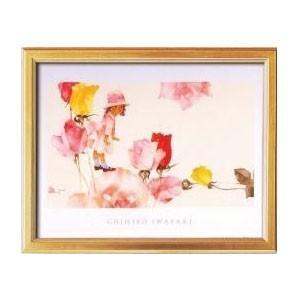 115153 いわさきちひろポスター額(金) 花と少女|senssyo
