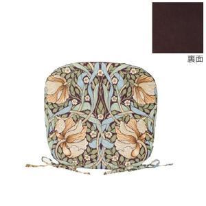 川島織物セルコン Morris Design Studio ピンパーネル ダイニングシートクッション 45×43Vcm LN1723 BR ブラウン|senssyo