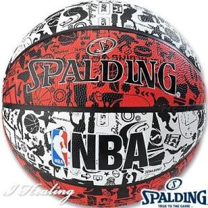 SPALDING バスケットボール7号 壁画柄グラフィティ レッド ラバー スポルディング83-574Z|senssyo