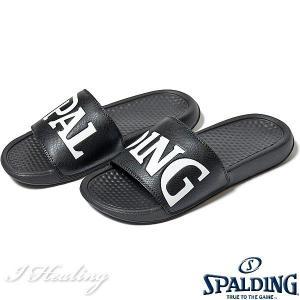 SPALDING スポーツサンダル メンズ ブラック バスケットボール ビッグロゴ スポルディングSASH001M-BLACK|senssyo