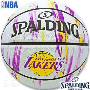 SPALDING ミニバス バスケットボール5号 NBAロサンゼルス レイカーズ マーブル 小学校 子供用 ラバー スポルディング83-927J|senssyo