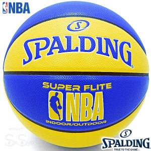 SPALDING SUPER FLITE バスケットボール7号 スーパーフライト ブルー イエロー 合成皮革 NBAロゴ スポルディング76-350Z|senssyo