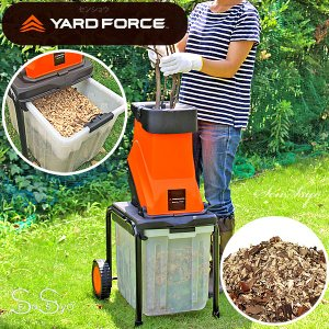 YARD FORCE粉砕機 枝シュレッダー 電動1450Wハイパワー ヤードフォース ガーデンシュレッダー ウッドチッパー タイヤ付|senssyo