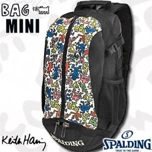 SPALDINGケイジャーミニ キースヘリング リュック ホワイト バスケットボールバッグ バスケ収納カバン スポルディング40-004KHWH|senssyo