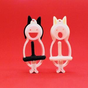 TLTLハンカチクリップ 2個セット(黒猫と白猫 マスク無し)|sentakuclip