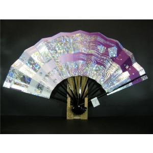舞扇子 A142 紫横ぼかし ホログラム箔流水 サイズ変更・骨色変更可能|senwata