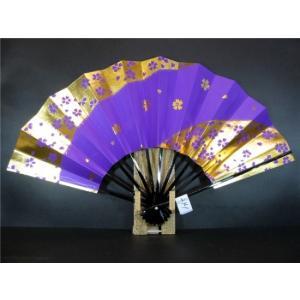 舞扇子 A241 紫べた 金箔桜 サイズ変更・骨色変更可能 senwata