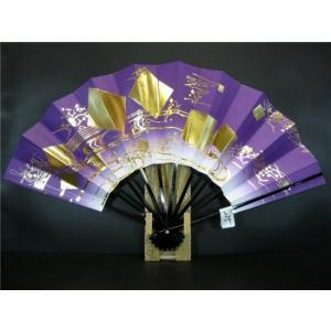 「大特価品!!」A255 舞扇子 紫天ぼかし 金箔流水
