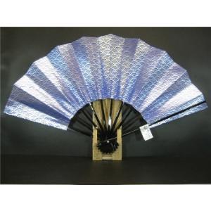 舞扇子 A475 青べた 銀箔青海波 サイズ変更・骨色変更可能 senwata