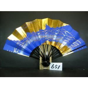 舞扇子 A651 金箔雲つゆ芝 青シルバ−ピース サイズ変更・骨色変更可能|senwata