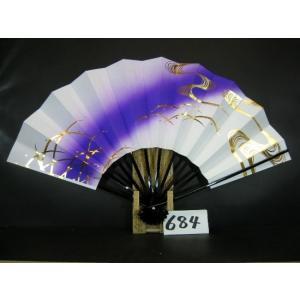 舞扇子 A684 金箔流水つゆ草 紫ナナメピース サイズ変更・骨色変更可能|senwata