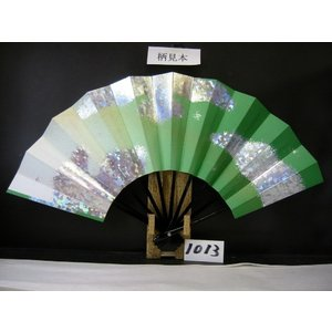 舞扇子 A1013 ホロ雲 草横ぼかし金ピース サイズ変更・骨色変更可能|senwata