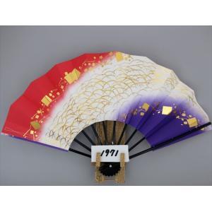 舞扇子 A1971 金箔つゆ草小石ノギ 赤・紫両妻ぼかし サイズ変更・骨色変更可能|senwata