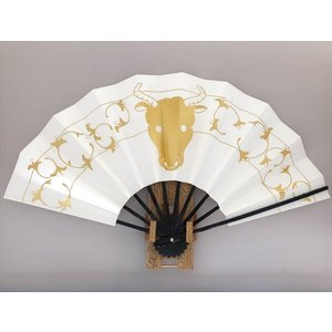 E130 舞飾り 干支扇 丑 片面違い サイズ変更・骨色変更可能|senwata