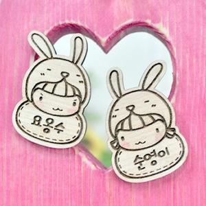 [韓国雑貨]原木のハングルイニシャルネーム タグ[ウサギ][韓国文房具][可愛い][かわいい][韓国 お土産]|seoul4