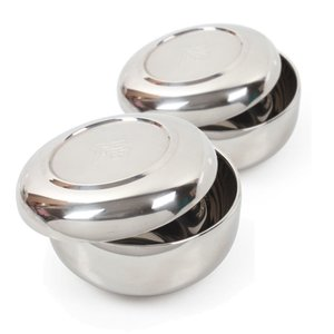 [韓国雑貨] ステンレス二重構造で安心 伝統的な韓国食器 [お茶碗 2膳セット / 蓋つき] [韓国食器] [輸入雑貨] [かわいい]|seoul4