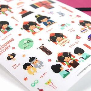 [韓国雑貨]伝統キャラクター イラストステッカー[レッド&ブルー4枚セット][シール][韓国 お土産][可愛い][かわいい]TBT654402|seoul4