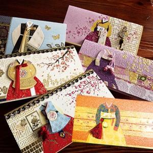 [韓国雑貨]見ても使っても楽しい 韓服封筒6種セット [韓国 お土産][可愛い][かわいい][文房具][文具]TBT917603|seoul4
