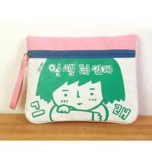 [韓国雑貨] -SSBA- イラストポーチ [人生何あるだろう] [バッグ] [小物入れ] [ファッション] [輸入雑貨] [かわいい] tbt859575|seoul4