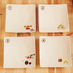 [韓国雑貨] 祝日絵柄シリーズ 手書きのやさしい角皿 [4枚セット] tbt1111680 [韓国食器] [輸入雑貨] [かわいい]