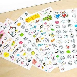 [韓国雑貨]韓国語のお勉強にも! ハングルがぎゅっと詰まったステッカーセット≪6枚×2セット≫ [シール] [かわいい] [輸入雑貨][かわいい]|seoul4
