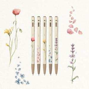 [韓国雑貨]水彩画のような花とハングルが上品な ボールペンセット(5本セット) [韓国 お土産][可愛い][かわいい][文房具][文具]|seoul4
