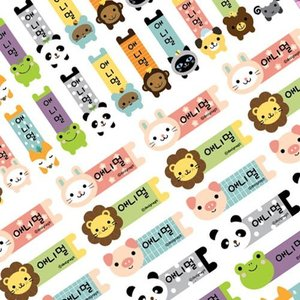 [韓国雑貨]ハングルでお名前 動物さんネームステッカー《4シートSET》[シール][名入れ][名前][韓国文房具][可愛い][かわいい]|seoul4