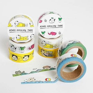 [韓国雑貨]=SSBA= 可愛いアジャシのマスキングテープ《選べる3つセット》[韓国 お土産][可愛い][かわいい][文房具][文具]|seoul4